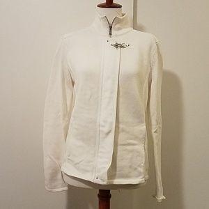 Ralph Lauren white collared sweater with zipper